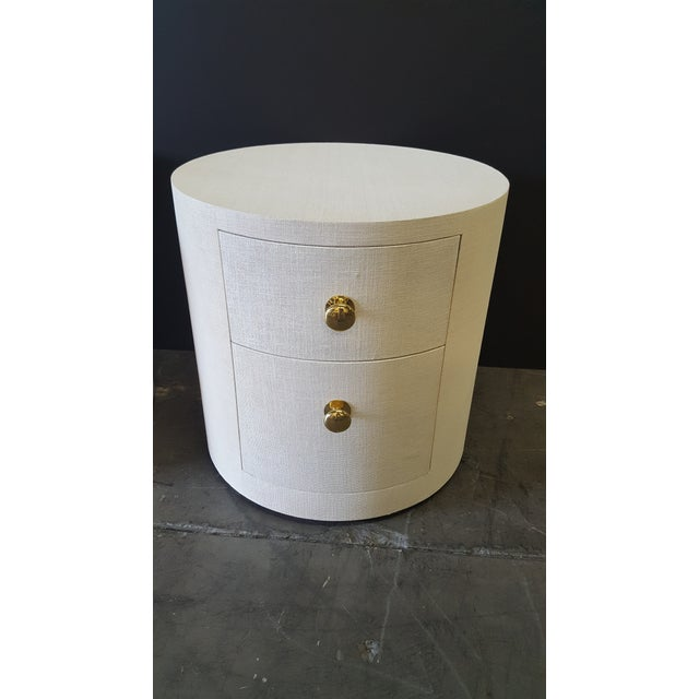 Contemporary Paul Marra Linen-Wrapped Round Nightstand For Sale - Image 3 of 10