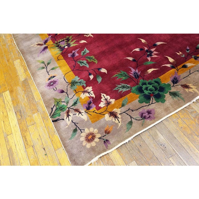 Art Deco 1920s Antique Chinese Art Deco Rug-8′10″ × 11′4 For Sale - Image 3 of 6