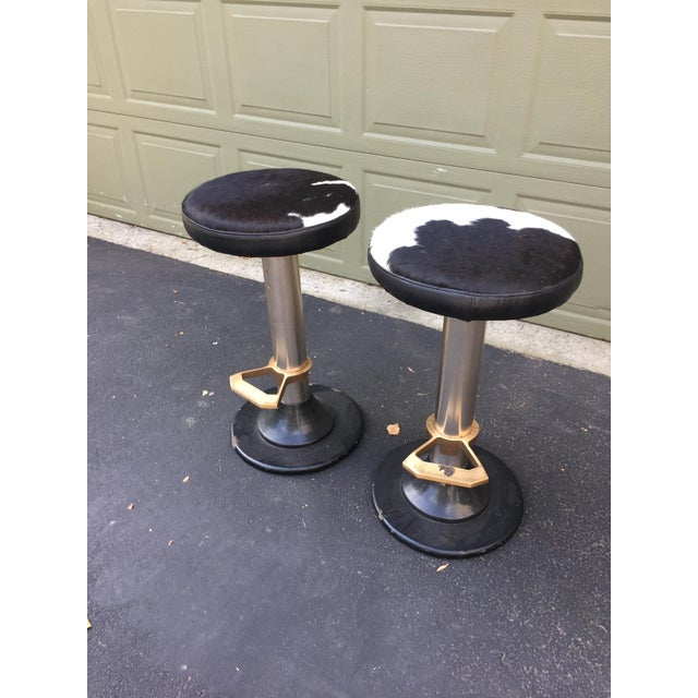 Cowhide Deco Style Bar Stools - a Pair - Image 4 of 11