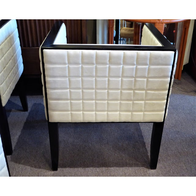 White 1990s Pietro Costantini Quilted Ultrasuede Yale Armchairs - a Pair For Sale - Image 8 of 12
