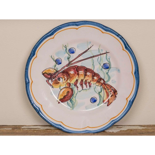 Blue Late 20th Century Italian Hand Painted Plates - Set of 8 For Sale - Image 8 of 11