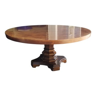 "72"" Round Burlwood Dining Table With Pedestal Base"