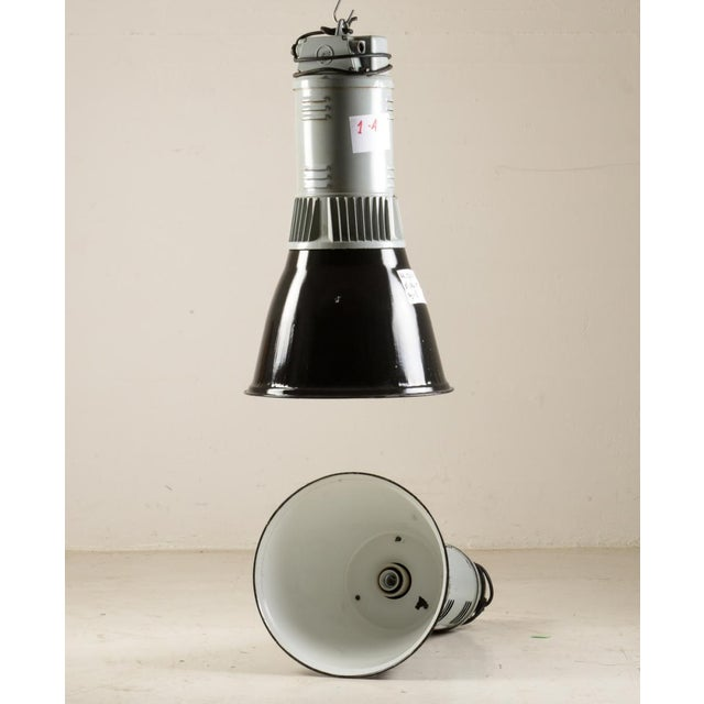 Vintage Industrial Pendant Lamp in Black & Gray For Sale - Image 6 of 6