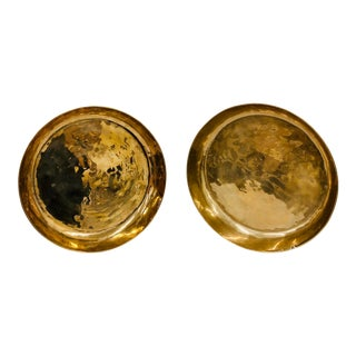 Vintage Round Brass Dishes - a Pair For Sale