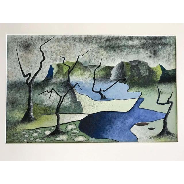 Surrealism Surrealist Landscape Signed Rothbart For Sale - Image 3 of 8