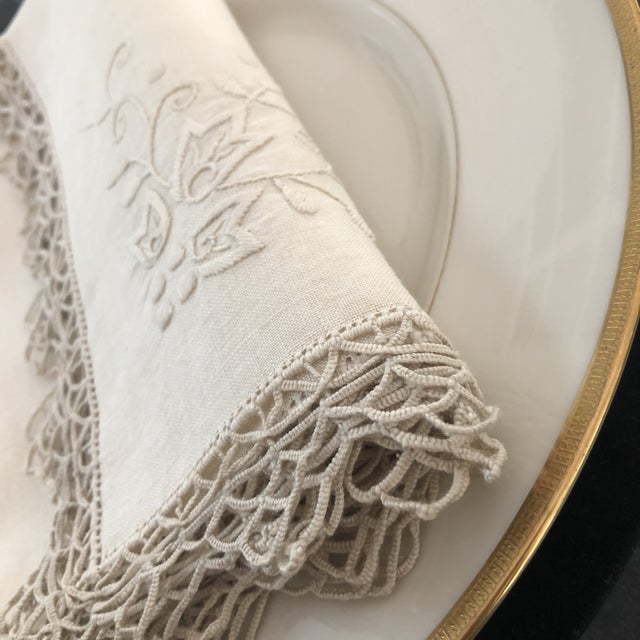 Italian Vintage Italian Linen Napkins Hand-Embroidered Reticella - Set of 12 For Sale - Image 3 of 13