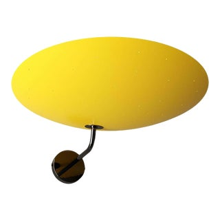 Pierre Disderot Model #2059 Large Perforated Wall Lamp in Yellow and Dark Chrome For Sale