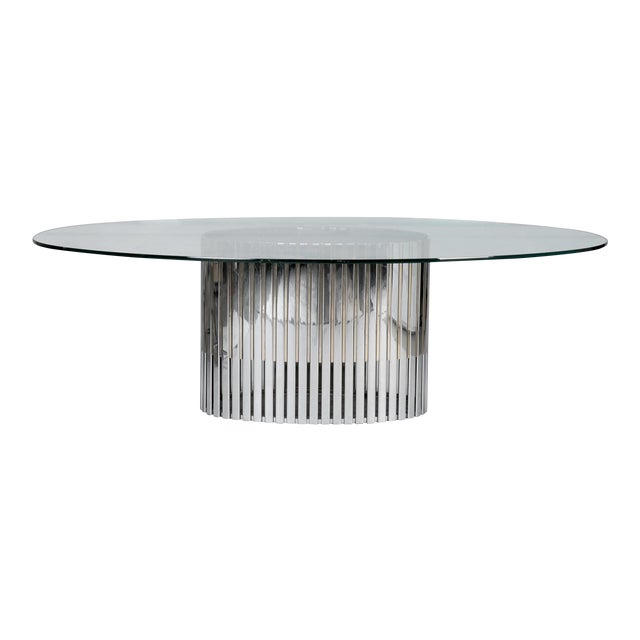 MidCentury Glass Top Dining Table With Chrome And Brass Slatted - Glass top mid century dining table
