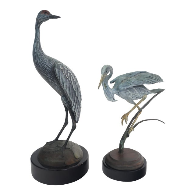 Bronze Crane and Heron Sculptures - A Pair - Image 1 of 7