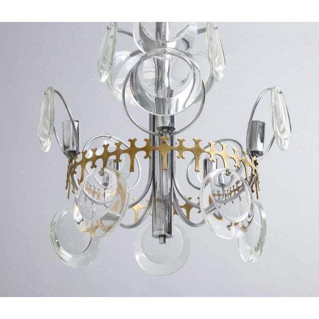 Mid-Century Modern Vistosi Clear Crystal Disc Chandelier For Sale - Image 3 of 10