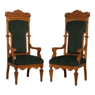 Antique Victorian Oak Pair High Back Armchairs Throne Chairs For Sale
