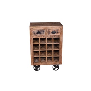 Contemporary Brin Two Drawer Wood Wine Rack