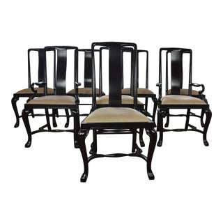 Set of 8 Black Lacquer Dining Chairs For Sale