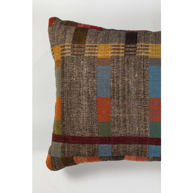 Boho Chic Indian Handwoven Pillow in Japanese Stripe Design For Sale - Image 3 of 5