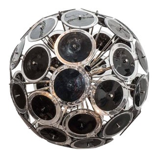 Custom Black Murano Disc Sputnik Chandelier