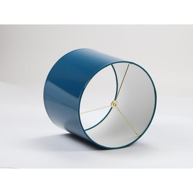 Modern Large Teal High Gloss Drum Lampshade For Sale - Image 3 of 7