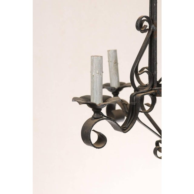 Mid 20th Century Tall French Four Light Black Iron C-Scrolled and S-Scrolled Chandelier For Sale - Image 5 of 9