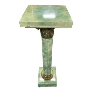 Green Marbleized Pedestal With Gilded Bronze Detailing For Sale