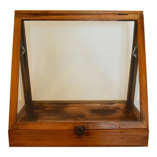 Mid 20th Century Vintage Pitch Pine Display Case For Sale