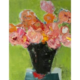 """Image of Bill Tansey """"Red Shadow"""" Abstract Floral Oil on Canvas For Sale"""