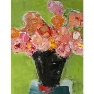 """Bill Tansey """"Red Shadow"""" Abstract Floral Oil on Canvas For Sale"""