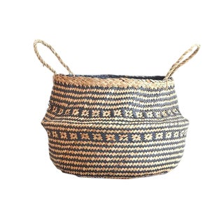 Medium Sea Grass Belly Basket Cris Cross For Sale
