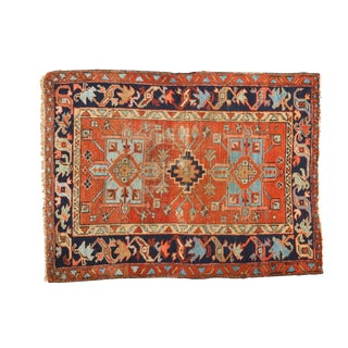 "Vintage Karaja Square Rug - 3'3"" X 4'2"" For Sale"