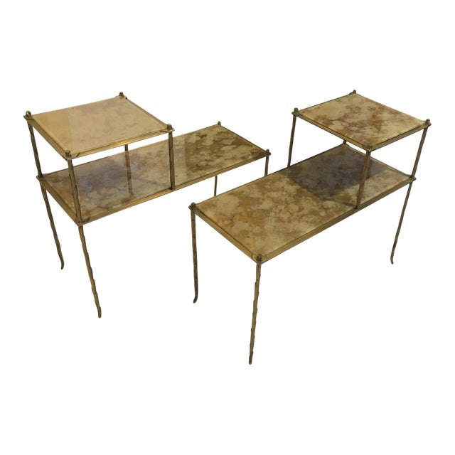 Maison Bagues Superb Gold Bronze Two Tier Side Tables With Eglomise Mirror Top For Sale