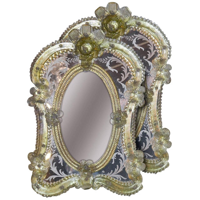1920s Pair of Gorgeous Venetian Vanity Mirrors on Stands For Sale