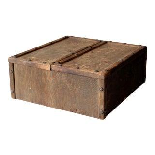 Vintage Split Double Door Wooden Box For Sale