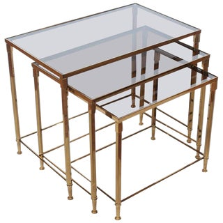 Mid century Vintage French Brass Nesting Tables- Set of 3 For Sale