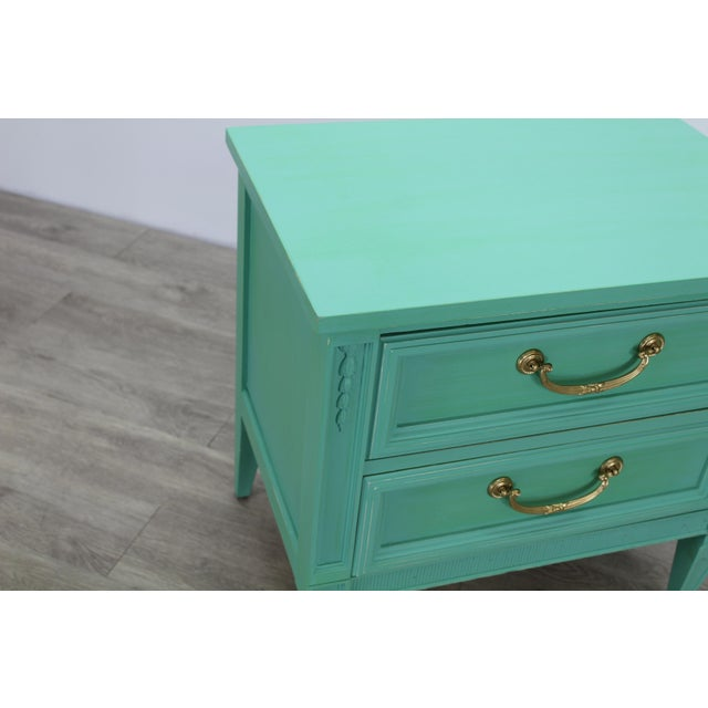 Mid Century Neoclassical Style Nightstand, Green Nightstand For Sale In Miami - Image 6 of 11