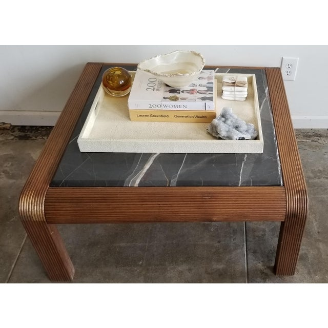 1920's Vintage Waterfall Edge Wood Coffee Table With Pietra Gray Marble Inset
