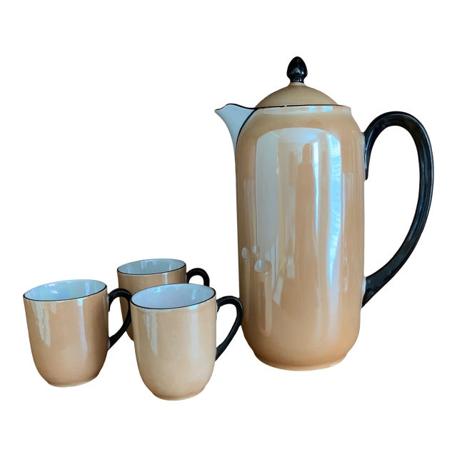 Vintage Lusterware Coffee Pot With Tea Cup Set- 4 Pieces For Sale
