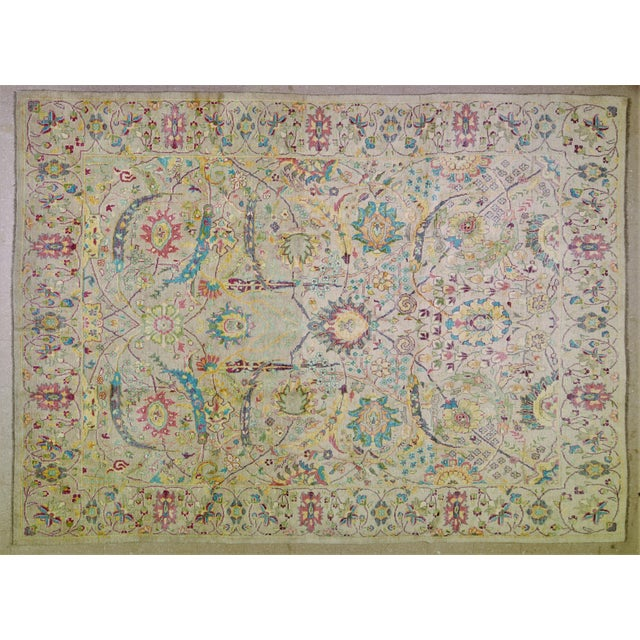 """Textile Vintage Turkish Hand Woven Oushak Rug With Allover Design and Silky Soft Texture,9'7""""x13' For Sale - Image 7 of 7"""