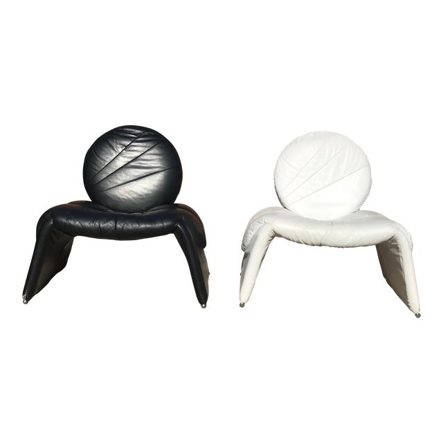 Black and White Vintage Leather Italian Lounge Chairs - a Pair For Sale