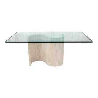Mid Century Travertine Table W/ Glass Top