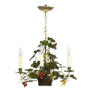 Geranium Tole Flowerpot Chandelier For Sale