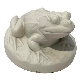 Vintage Frog Figurine Bisque White For Sale