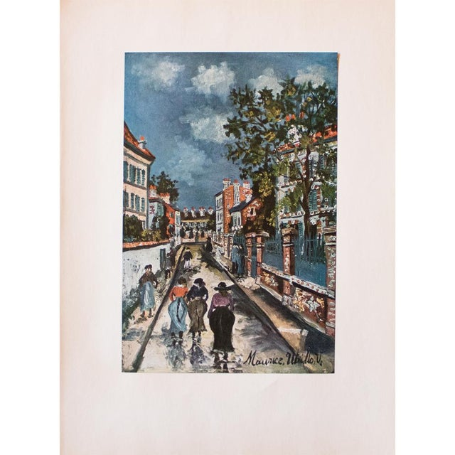 Blue 1950s Maurice Utrillo, Parisian Street Scene First Edition Lithograph For Sale - Image 8 of 8