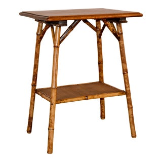 19th C French Bamboo Table With Oak Top For Sale