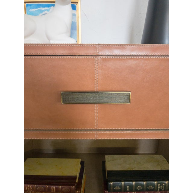 Tan Made Goods Dante Double Nightstand in Aged Camel Leather For Sale - Image 8 of 13
