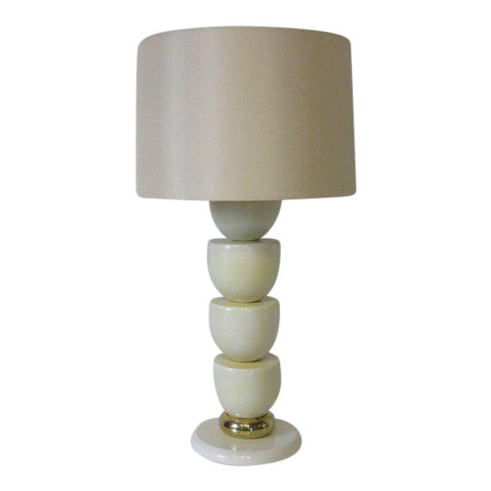 1970s Lacquered Wood and Brass Table Lamp For Sale