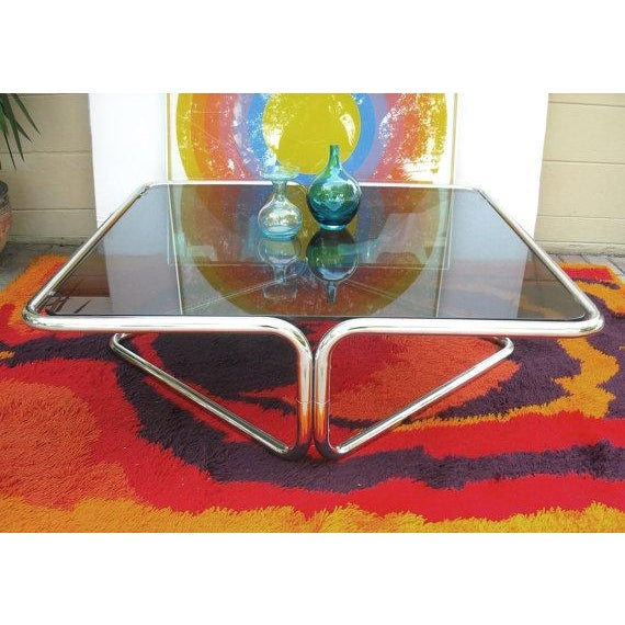 Mid Century Coffee Table Chrome Jerry Johnson - Image 4 of 5