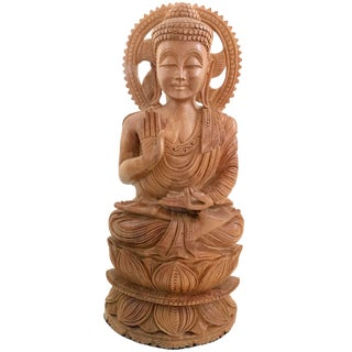 Indian Sandalwood Sitting Buddha on Lotus Meditation Hand Made Mysore South India Rare Antique For Sale