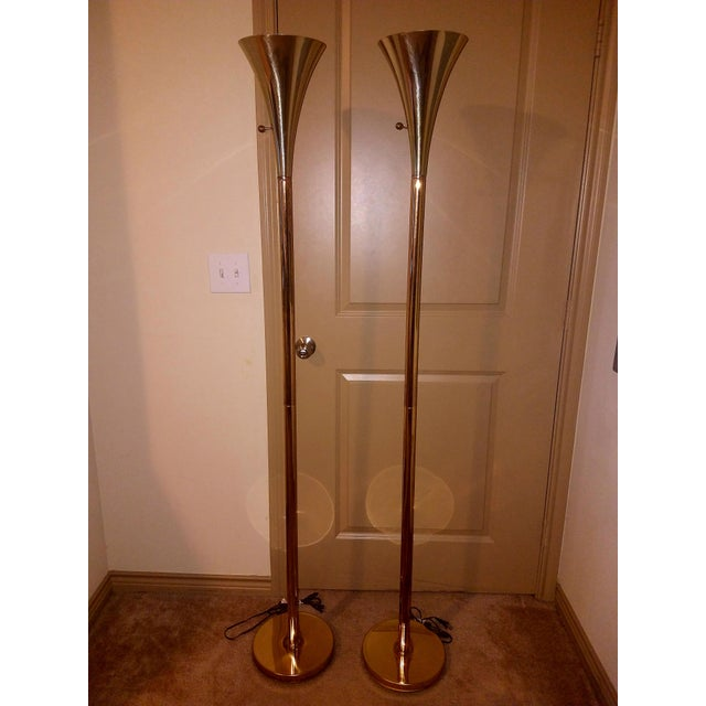 Laurel Lamp Company 1960s Vintage Laurel Lamp Company Brass Torchiere Floor Lamps - A Pair For Sale - Image 4 of 7
