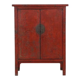 Mid 19th Century Red Lacquer Cabinet For Sale