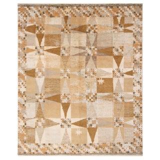 Rug & Kilim's Scandinavian-Inspired Geometric Beige Cream Wool Rug For Sale