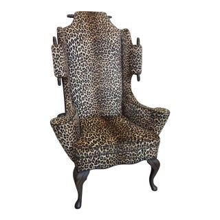 1970s Mason Art - Custom Highback Faux Leopard Wing Chair For Sale
