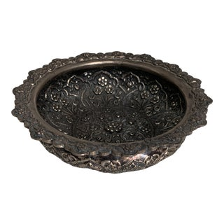 Persian Repousse 900 Silver Bowl For Sale